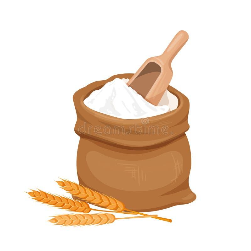 Saco da farinha e do trigo ilustração royalty free
