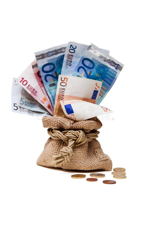 Saco da moeda com euro fotografia de stock royalty free