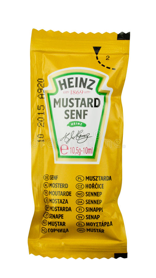 Saco da mostarda de Heinz fotos de stock royalty free