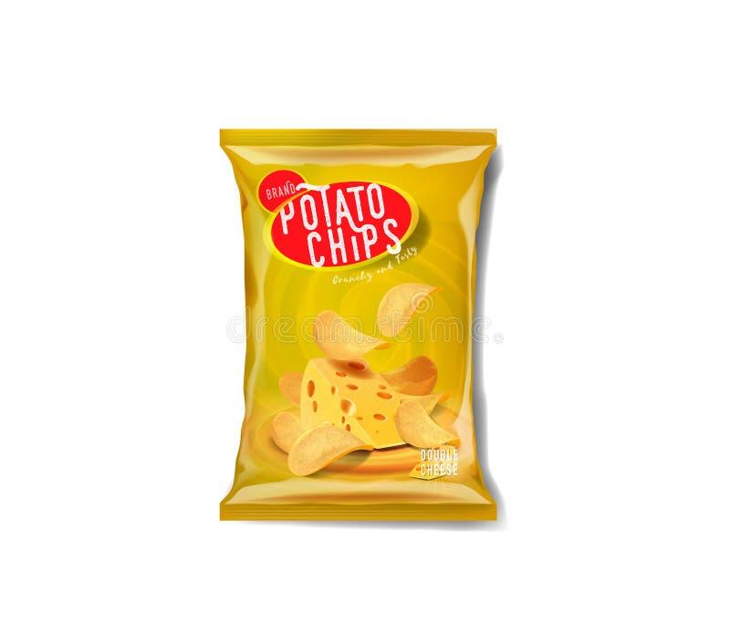 Saco da propaganda das microplaquetas de batata, sabor dobro do queijo cheddar ilustração do vetor