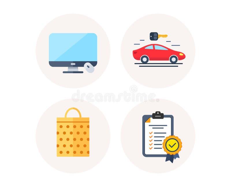 Saco da venda, exposição de computador e ícones do Carsharing No sinal da conformidade Shopping, dispositivo do monitor, aluguer  ilustração do vetor
