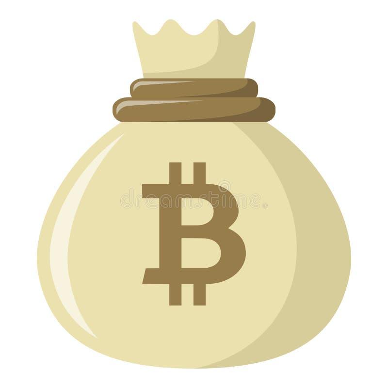 Saco de ícone liso do dinheiro de Bitcoin no branco ilustração royalty free