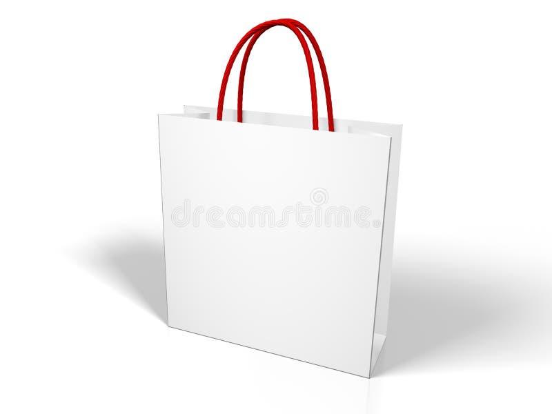 Saco de compra branco em branco ilustração royalty free