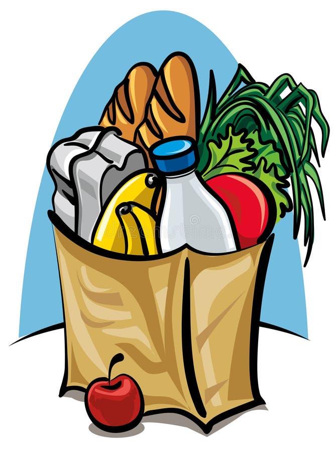 Saco de compra com alimento ilustração stock