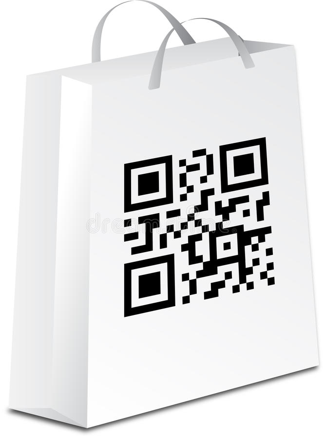 Saco de compra com código do qr ilustração royalty free