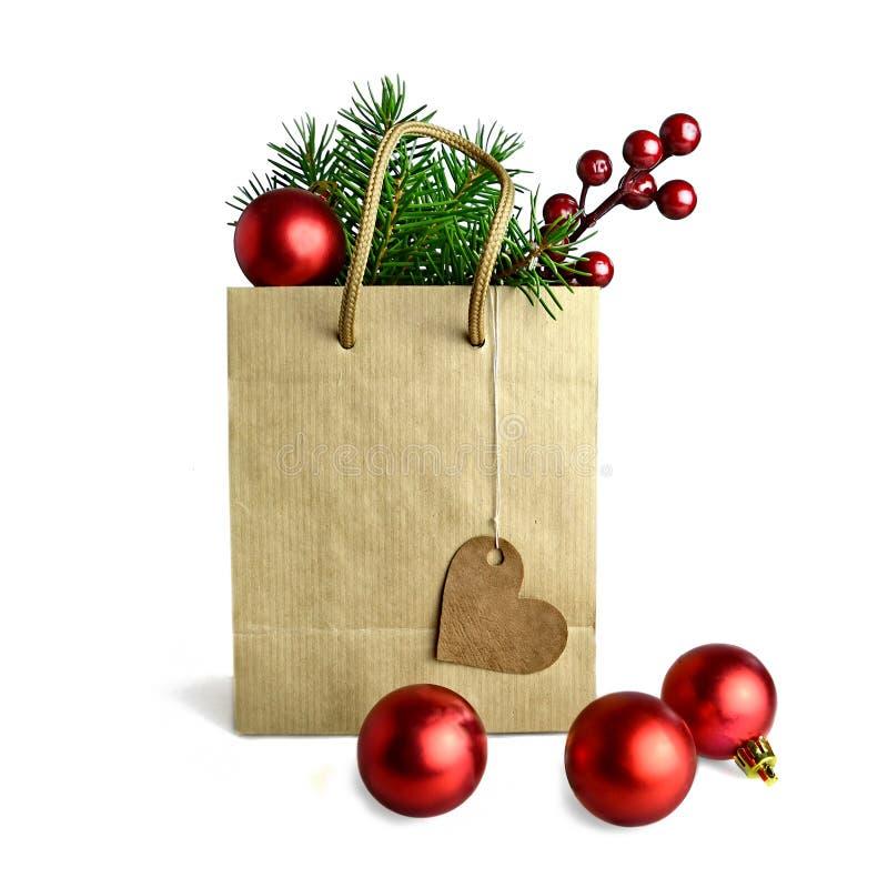 Saco de compra do Natal fotografia de stock