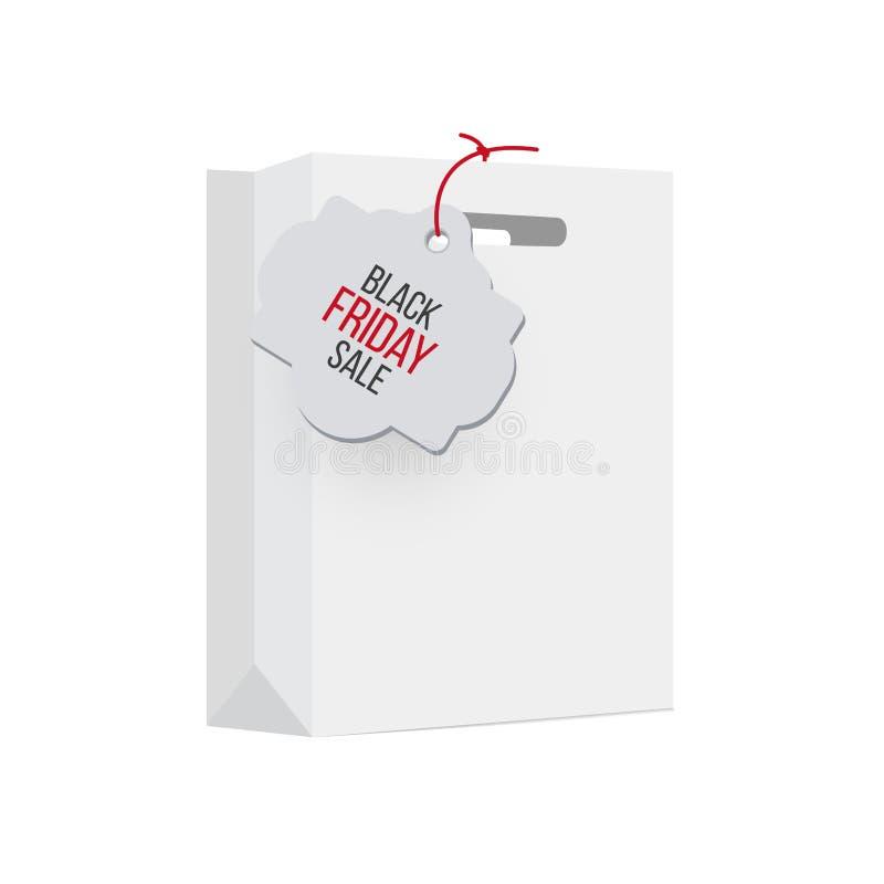 Saco de compras branco com etiqueta das vendas Etiqueta preta das vendas de sexta-feira do vetor ilustração do vetor