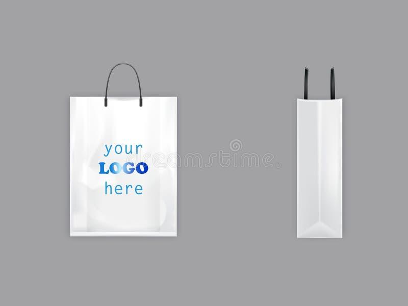 saco de compras branco do vetor 3D com punhos pretos ilustração stock