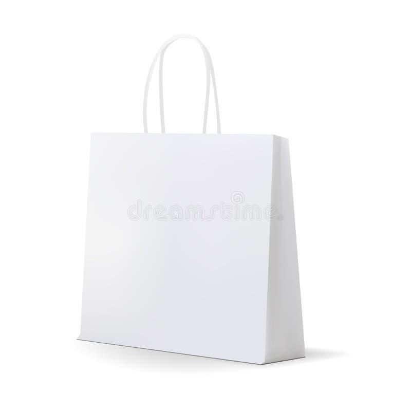 Saco de compras branco vazio para anunciar e marcar ilustração stock