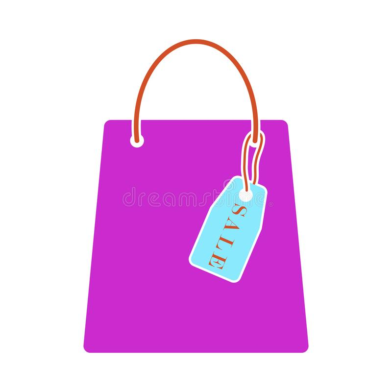 Saco de compras com ícone da etiqueta da venda ilustração stock