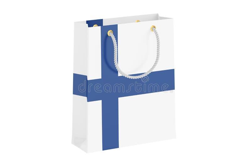 Saco de compras com bandeira finlandesa, rendição 3D ilustração do vetor