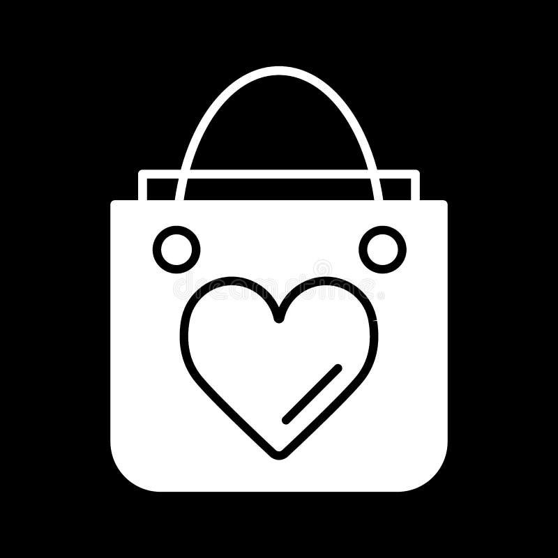 Saco de compras com linha de coração ícone, sinal contínuo do vetor, pictograma linear do estilo isolado no preto Símbolo, logoti ilustração do vetor