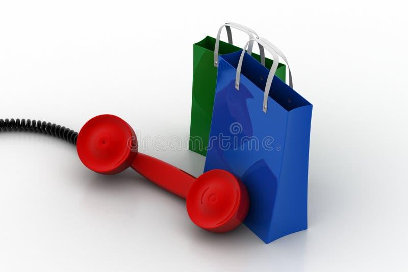 Saco de compras com receptor de telefone ilustração stock