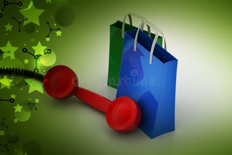 Saco de compras com receptor de telefone ilustração do vetor