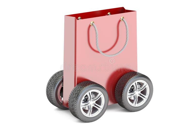 Saco de compras com rodas, conceito da entrega rendição 3d ilustração royalty free