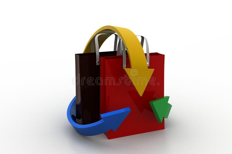 Saco de compras com setas ilustração stock