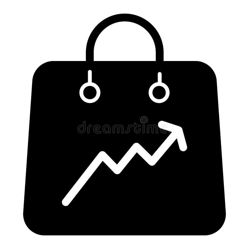 Saco de compras com um ícone do sólido do gráfico Empacote o saco com a ilustração do vetor do gráfico isolada no branco Aumente  ilustração royalty free