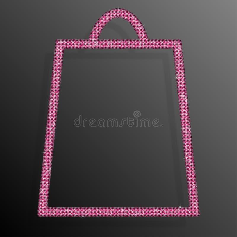 Saco de compras cor-de-rosa das lantejoulas glitter Venda, oferta ilustração stock