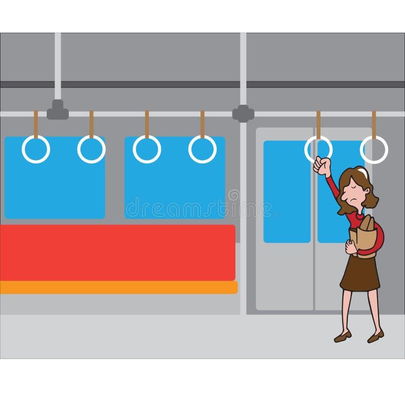Saco de compras 1 da posse da mulher do transporte dos povos ilustração do vetor