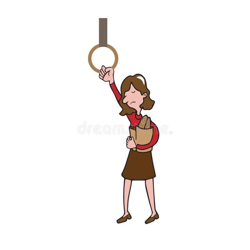 Saco de compras da posse da mulher do transporte dos povos ilustração stock