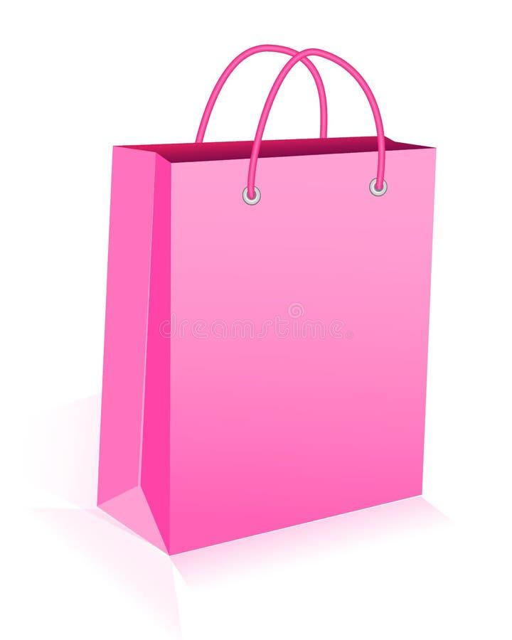 Saco de compras de papel com punhos da corda Rosa, vetor ilustração do vetor