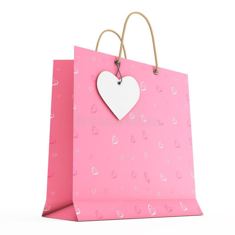 Saco de compras de papel cor-de-rosa com etiqueta branca do coração na corda rende 3D ilustração stock