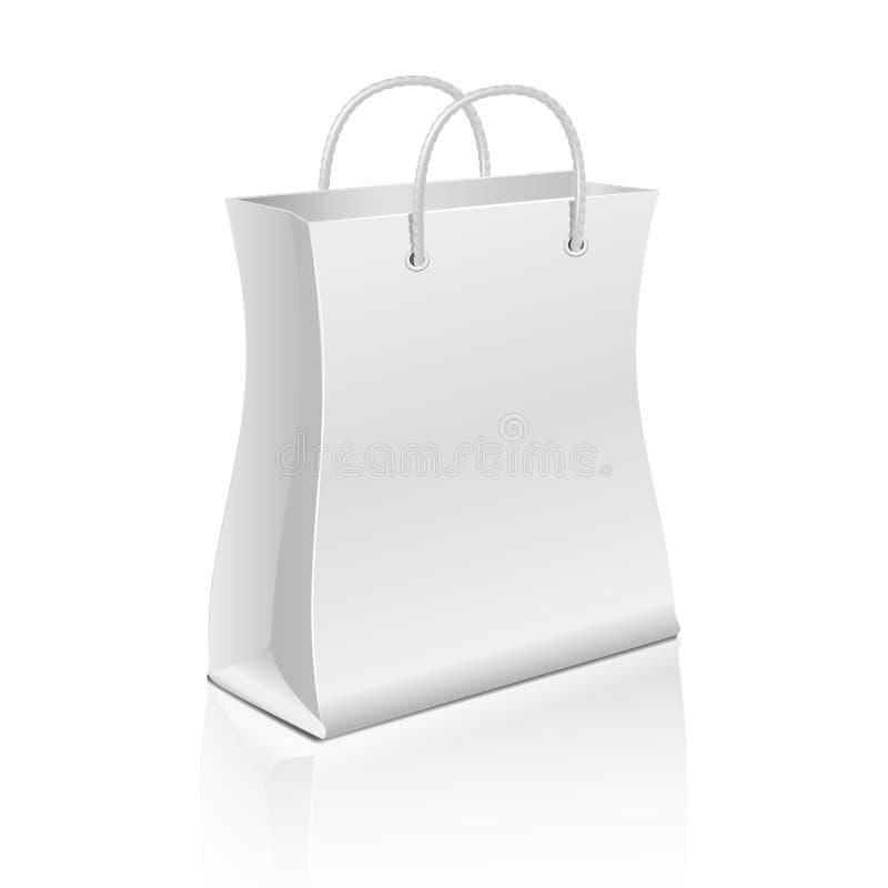Saco de compras de papel vazio no branco Molde do vetor para anunciar e marcar ilustração do vetor
