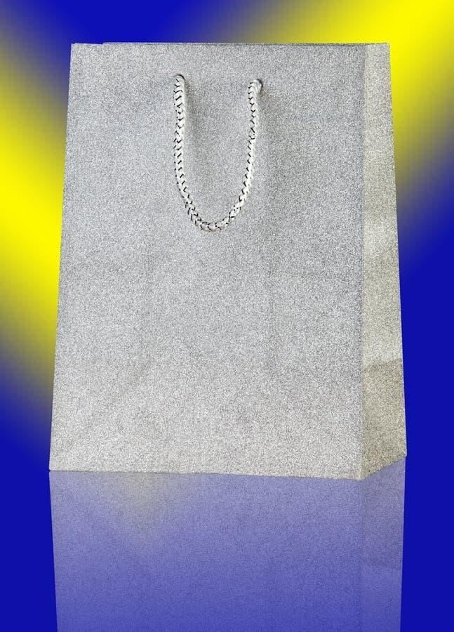 Saco de compras de prata. foto de stock royalty free
