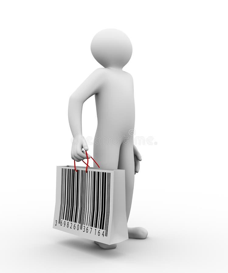 saco de compras do código de barras do homem 3d ilustração royalty free