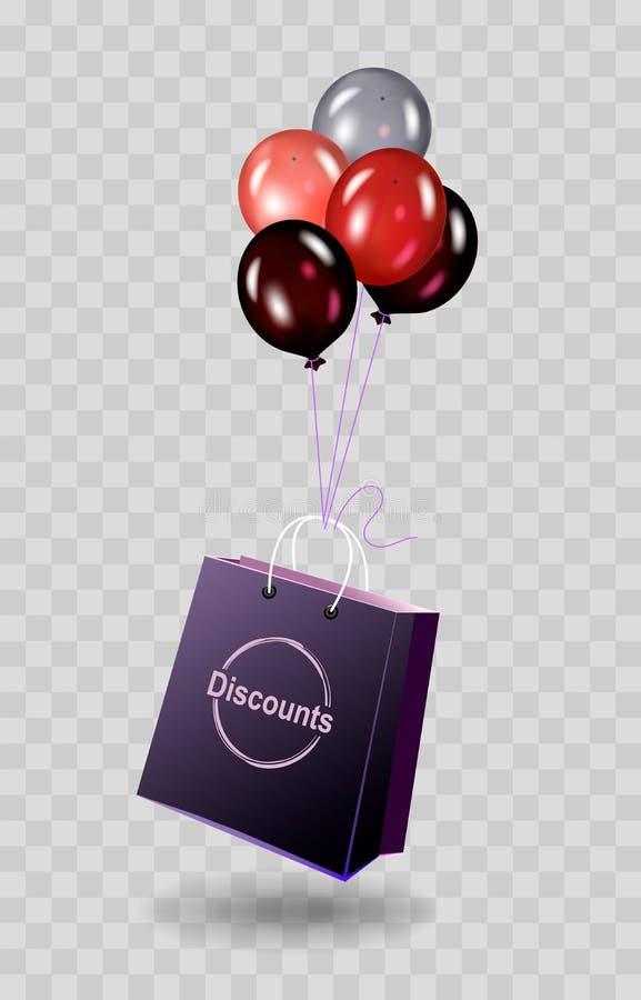 Saco de compras do desconto amarrado a um balão em um fundo transparente Ilustração para descontos e vendas ilustração do vetor