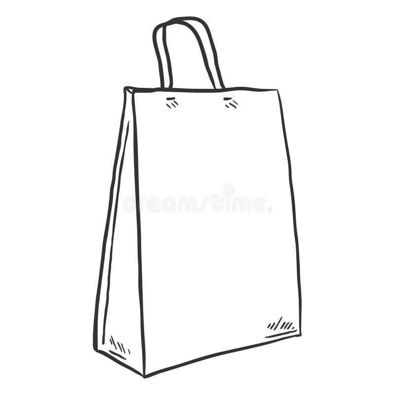 Saco de compras do esboço do vetor único ilustração royalty free