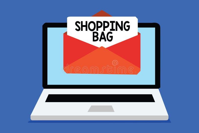 Saco de compras do texto da escrita da palavra Conceito do negócio para recipientes para levar possessões pessoais ou recepção do ilustração stock
