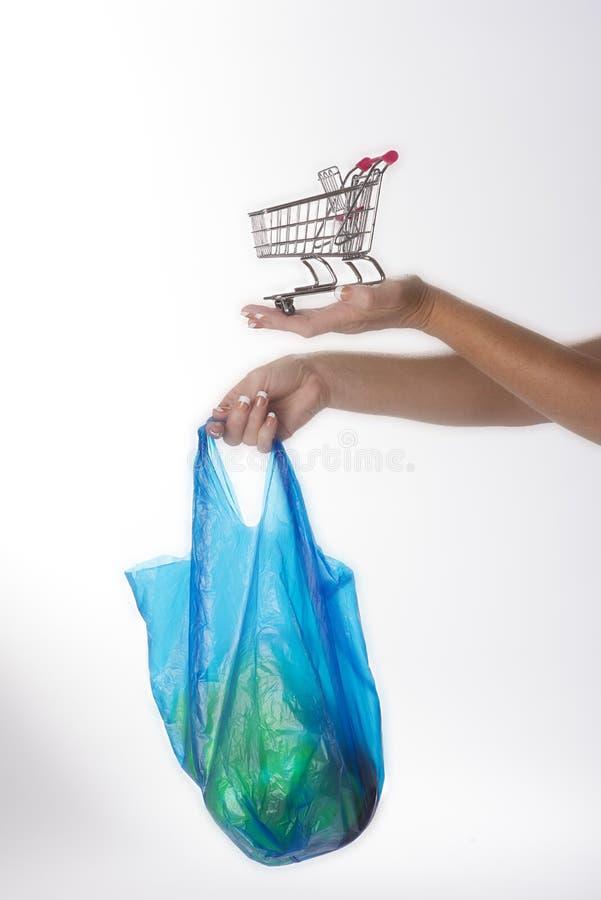 Saco de compras e trole foto de stock