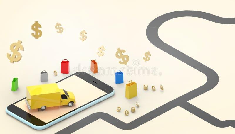 Saco de compras em linha do conceito do carro de entrega do mercado das vendas no Web site ou no mercado móvel da aplicação e das ilustração do vetor