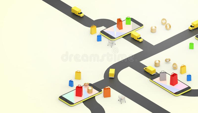 Saco de compras em linha do conceito do carro de entrega do mercado das vendas para o móbil na aplicação do Web site e Digitas qu ilustração do vetor