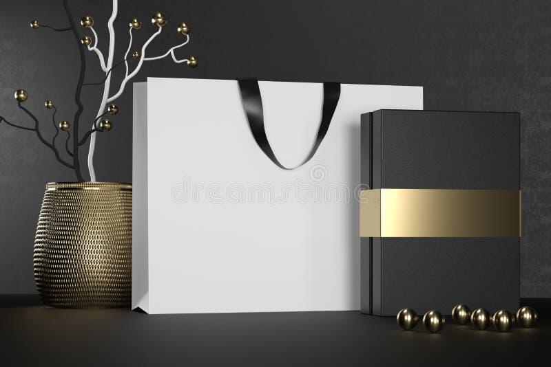 Saco de compras de papel de marcagem com ferro quente branco com punhos e zombaria luxuosa da caixa negra acima Pacote branco sup ilustração do vetor