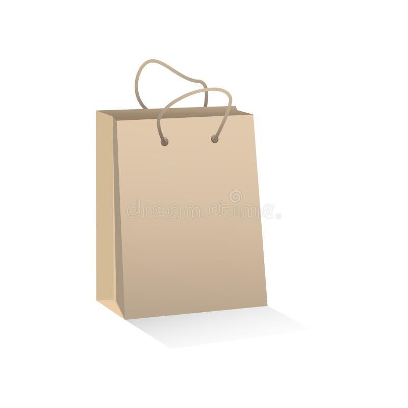 Saco de compras de papel marrom do ofício Ilustra??o do vetor ilustração royalty free