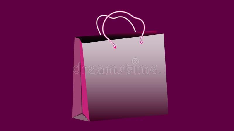 Saco de compras de papel volumoso realístico roxo para comprar com punhos da corda em um espaço roxo do fundo e da cópia Vetor ilustração royalty free