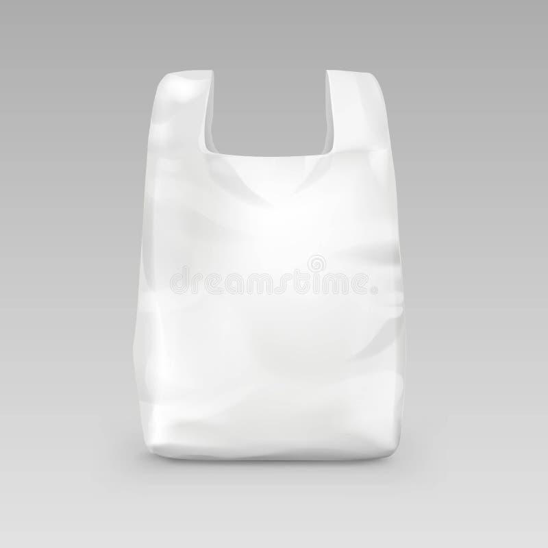 Saco de compras plástico descartável branco com os punhos no fundo ilustração do vetor