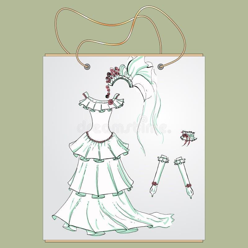 Saco de compras, presente com a imagem de coisas elegantes ilustração royalty free