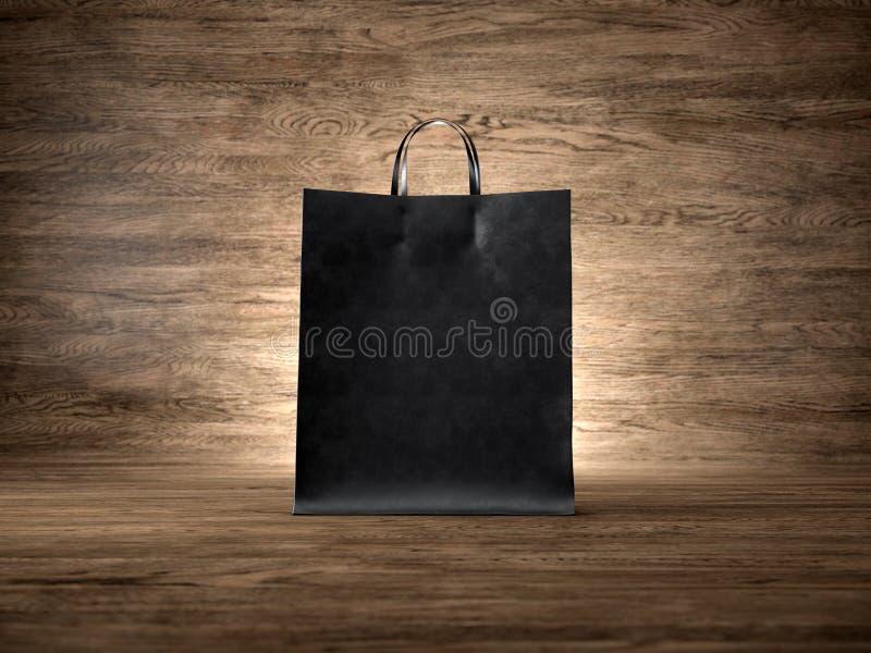 Saco de compras preto do ofício, fundo de madeira foco imagens de stock royalty free