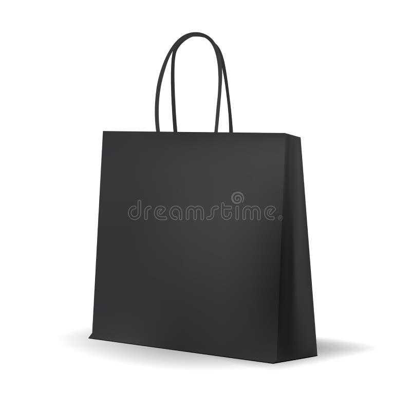 Saco de compras preto vazio para anunciar e marcar ilustração do vetor