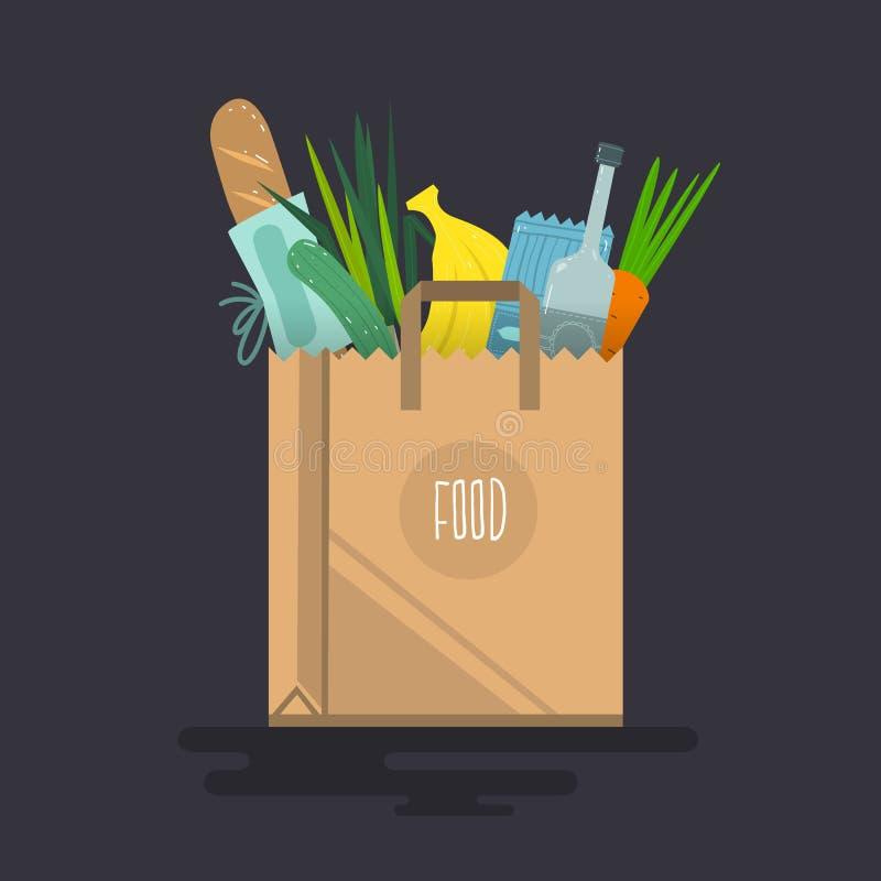 Saco de compras reus?vel amig?vel de Eco enchido com os vegetais ilustração do vetor