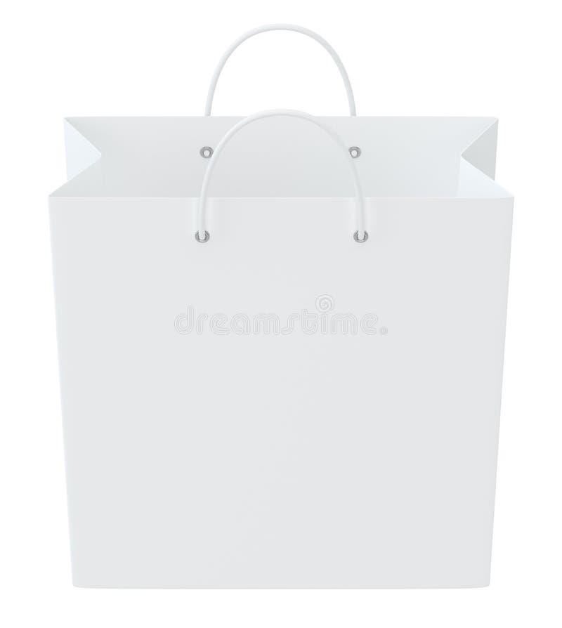 Saco de compras vazio na rendição branca do fundo para anunciar e marcar ilustração 3D ilustração royalty free
