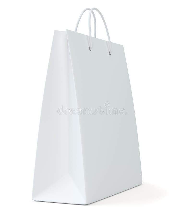 Saco de compras vazio na rendição branca do fundo para anunciar e marcar ilustração 3D ilustração do vetor