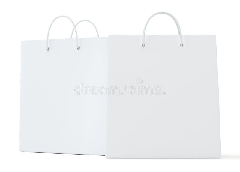 Saco de compras vazio na rendição branca do fundo para anunciar e marcar ilustração 3D ilustração stock