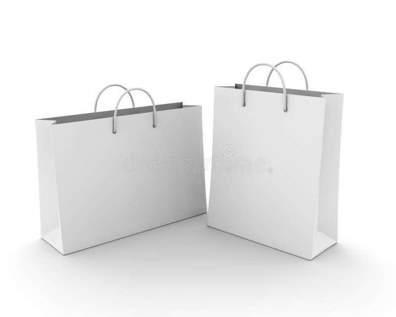 Saco de compras vazio no branco ilustração do vetor