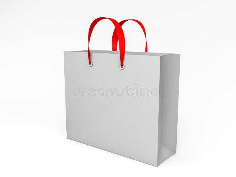 Saco de compras vazio para anunciar e marcar 3d ilustração do vetor