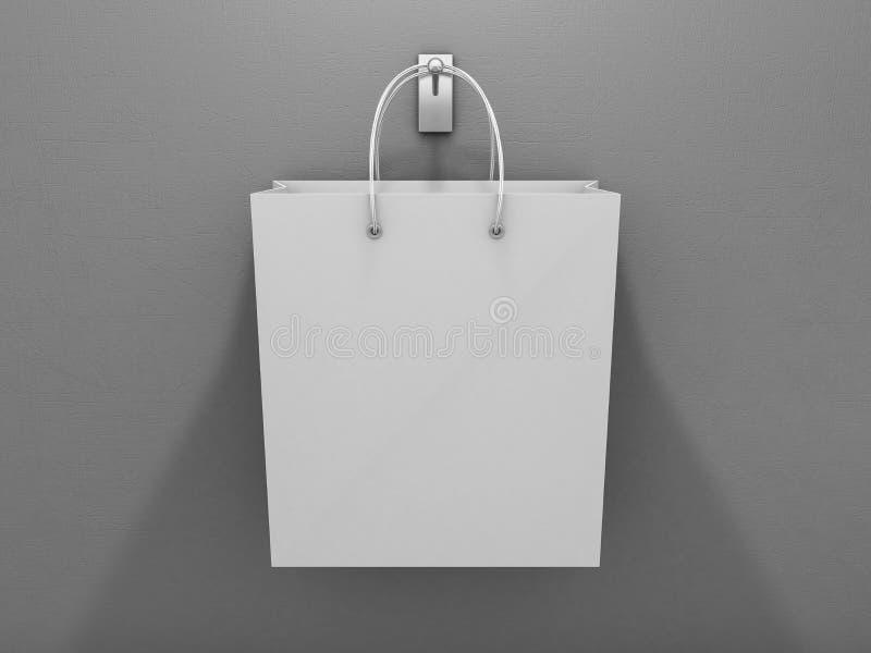 Saco de compras vazio para anunciar e marcar 3d ilustração stock