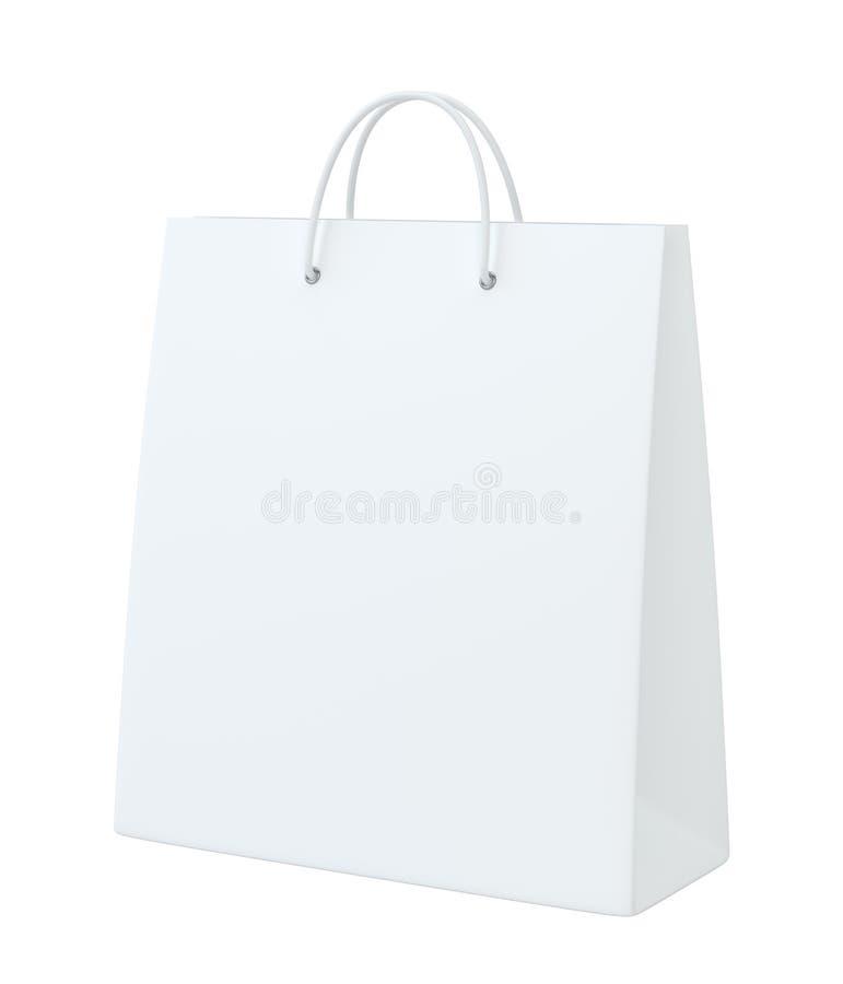 Saco de compras vazio para anunciar e marcar Isolado no fundo branco rendição 3d ilustração stock